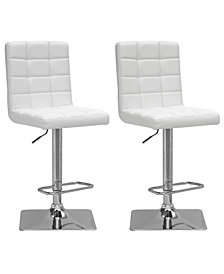 Corliving Adjustable Square Tufted Barstool in Bonded Leather, Set of 2