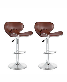 Corliving Curved Form Fitting Adjustable Barstool in Leatherette, Set of 2