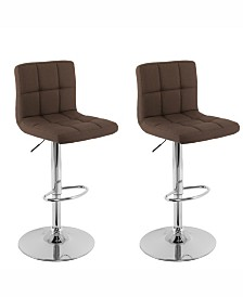 Corliving Mid Back Square Panel Fabric Adjustable Barstool, Set of 2