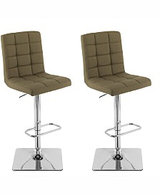 Corliving Heavy Duty Gas Lift Tufted Fabric Adjustable Barstool, Set of 2