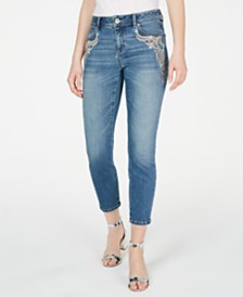I.N.C. Embroidered-Pocket Skinny Ankle Jeans, Created for Macy's