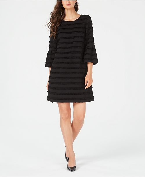 Fringed-Stripe Shift Dress