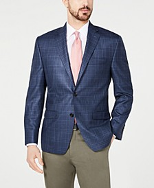 Men's Classic-Fit UltraFlex Stretch Navy Plaid Sport Coat