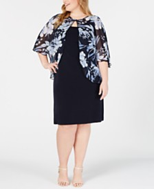 Connected Plus Size Printed Jacket & A-Line Dress