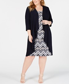 R & M Richards Plus Size Necklace Dress & Jacket