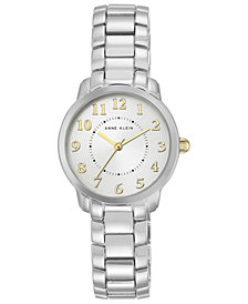 Anne Klein Women's Silver-Tone Bracelet Watch 30mm