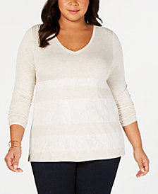 One A Plus Size Lace-Striped Top