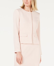 Calvin Klein Twill Collarless Peplum Jacket