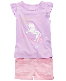 Epic Threads Little Girls Unicorn T-Shirt & Cuffed Shorts, Created for Macy's