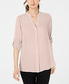 Petite Split-Neck Button-Front Top, Created for Macy's