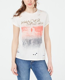 GUESS Wander Graphic-Print Ripped T-Shirt