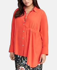 RACHEL Rachel Roy Trendy Plus Size Asymmetrical-Hem Shirt