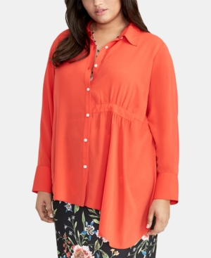 Rachel Rachel Roy T-shirts TRENDY PLUS SIZE ASYMMETRICAL-HEM SHIRT