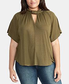 RACHEL Rachel Roy Trendy Plus Size Keyhole Knit Top