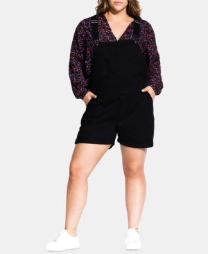 City Chic Shorts TRENDY PLUS SIZE DENIM SHORTALLS