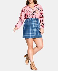 Trendy Plus Size Check Me Denim Skirt