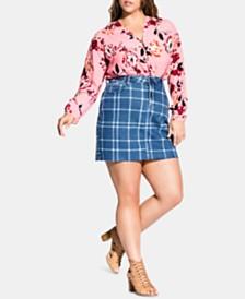City Chic Trendy Plus Size Check Me Denim Skirt