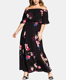 5d702e692a6f3 City Chic Trendy Plus Size Printed Off-The-Shoulder Maxi Dress