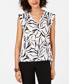 Nine West Printed Crepe Blouse