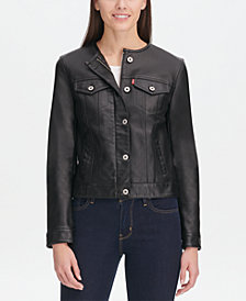 Levi's® Collarless Faux-Leather Trucker Jacket
