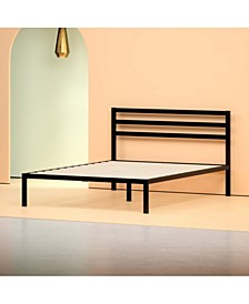 Mia 14 Inch Platform Metal Bed Frame with Headboard / Strong Wood Slat Support, Twin