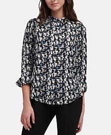 DKNY Abstract-Print Collared Shirt