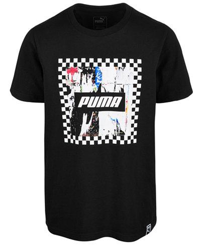 Puma Big Boys Rebel Check Graphic Cotton T-Shirt