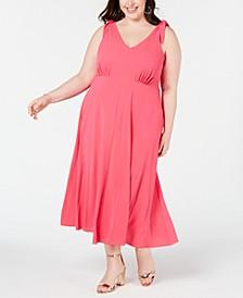 Plus Size Shoulder-Tie Midi Dress