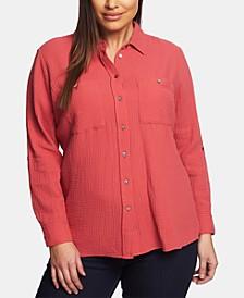 Plus Size Cotton Gauze Shirt