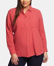 1.STATE Plus Size Cotton Gauze Shirt