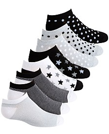 Planet Sox Toddler, Little & Big Girls 8-Pack Dot & Star No-Show Socks
