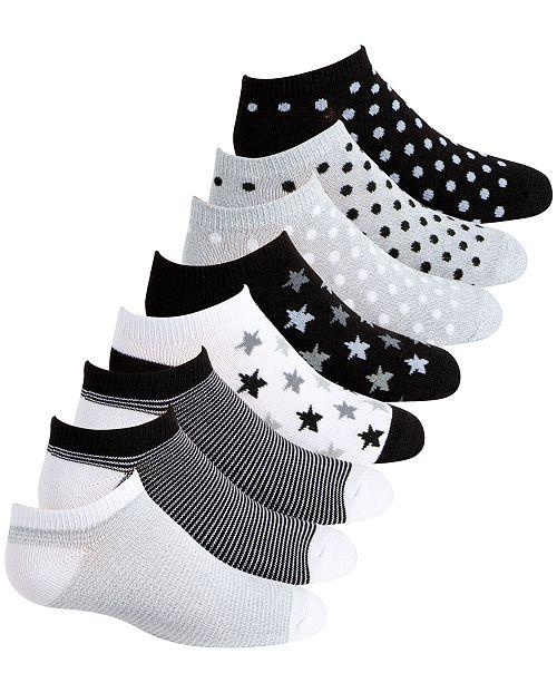 Planet Sox Toddler, Little & Big Girls 8-Pack Dot & Star No-Show Socks
