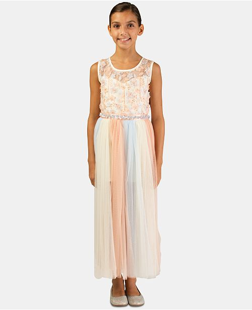 8dc6a92987e Bonnie Jean Big Girls Rainbow Maxi-Overlay Romper Dress   Reviews ...