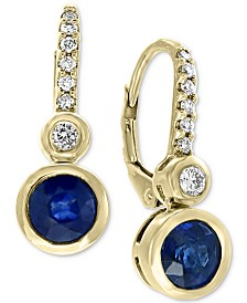 EFFY® Sapphire (1-1/8 ct. t.w.) & Diamond (1/6 ct. t.w.) Drop Earrings in 14k Gold
