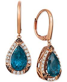Le Vian® Deep Sea Blue Topaz (4-1/10 ct. t.w.) & Diamond (5/8 ct. t.w.) Drop Earrings in 14k Rose Gold