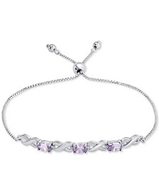 Blue Topaz Bolo Bracelet (1-3/4 ct. t.w.) in Sterling Silver (Also in Amethyst, Sapphire & Simulated Opal)