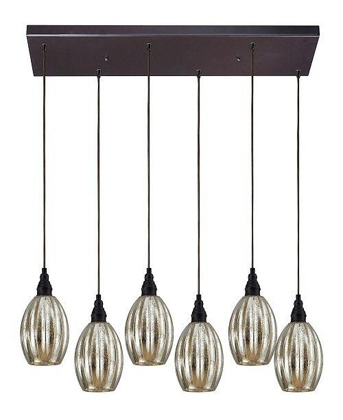 ELK Lighting Danica 6 Light Pendant in Oiled Bronze and Mercury Glass