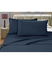 1500 Series 4-Piece Bed Sheet Set - California King, Navy Blue