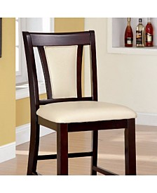 Benzara Wooden Counter Height Chair with Padded Seat And Back, Pack of 2