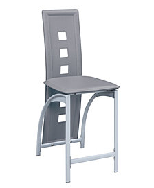 Benzara Metal Frame High Chair with Eyelet Design, Set of 2
