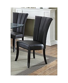 Leather Upholstered Dining Chair in Poplar Wood, Set of 2