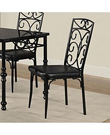 Metal Based Dining Chair with Leatherette Seat, Set of 2