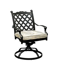 Metal Swivel Rocker Chair With Fabric Cushion, Set of Two