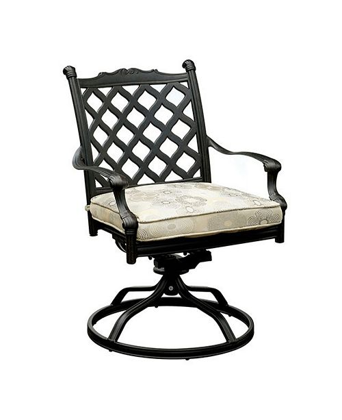 Benzara Metal Swivel Rocker Chair With Fabric Cushion, Set of Two