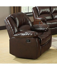 Benzara Bonded Leather Match Recliner Chair