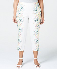 Plus Size Tummy Control Floral-Print Cropped Pants, Created for Macy's