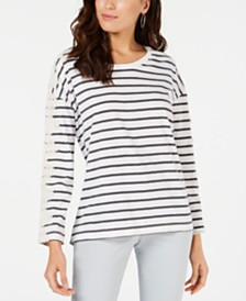 Style & Co Striped Lace-Trim Top, Created for Macy's