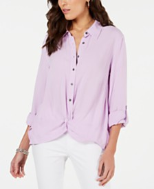Style & Co Knot-Front Button-Up Top, Created for Macy's