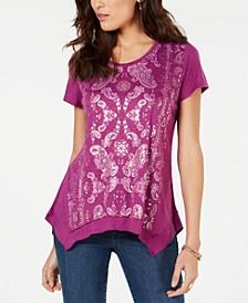 Graphic Handkerchief-Hem Top, Created for Macy's