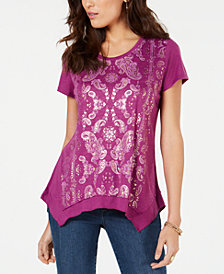 Style & Co Petite Asymmetrical Metallic-Print T-Shirt, Created for Macy's